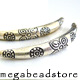 KB8 Karen Thai Silver Curved Beads   60mm x 7mm   1pc