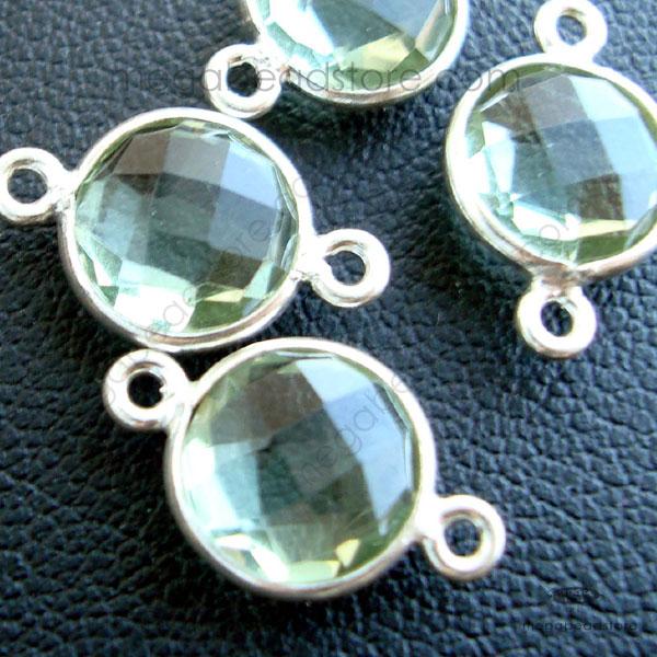 8mm Green Amethyst Hydro Bezel Gemstone Connector Sterling Silver ...