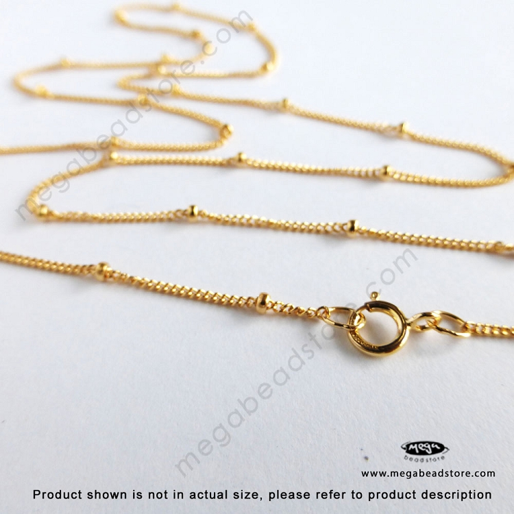 30 inch 1.9mm Bead Satellite Chain Finished Necklace 14K Gold ...
