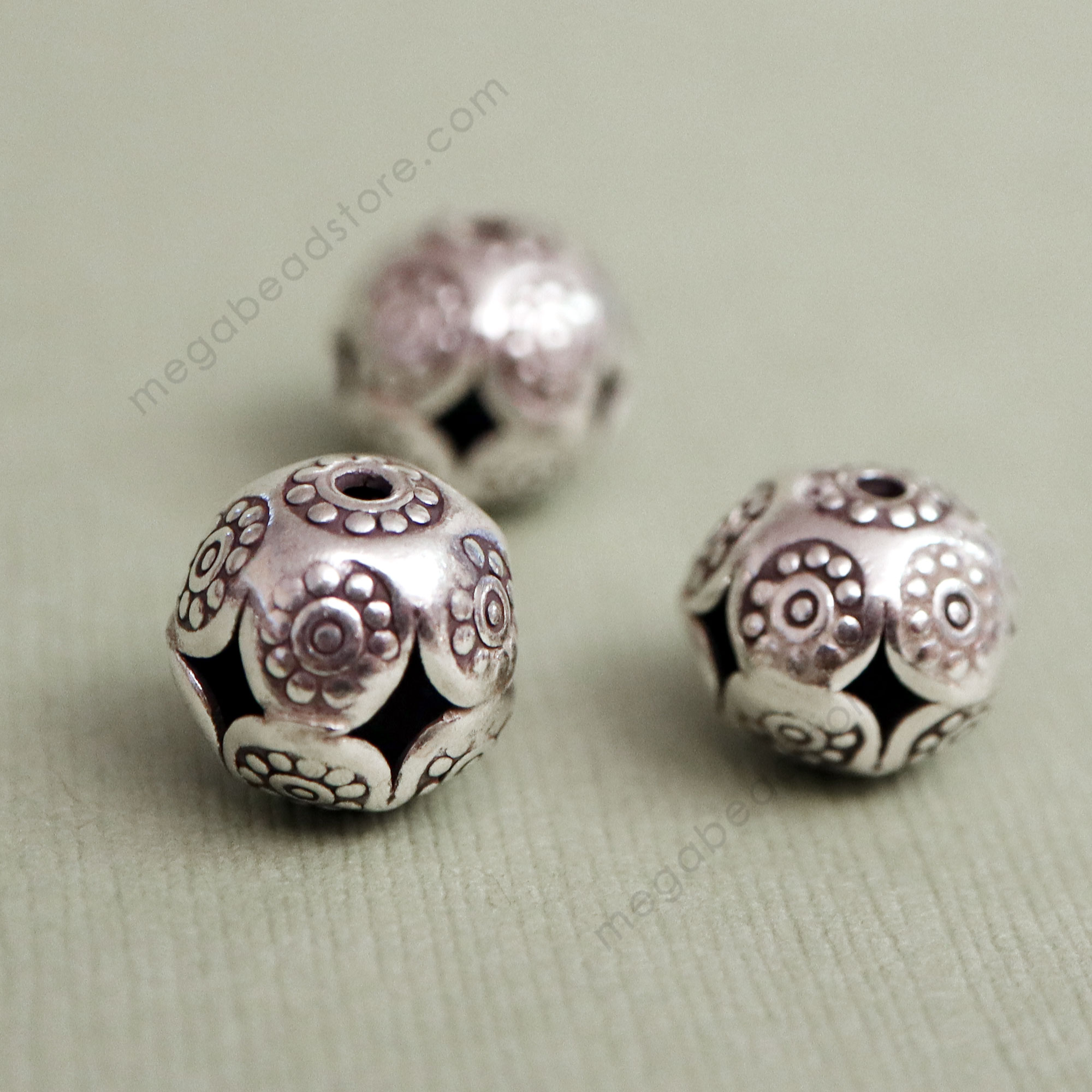 KB5 Karen Thai Silver Beads   12mm