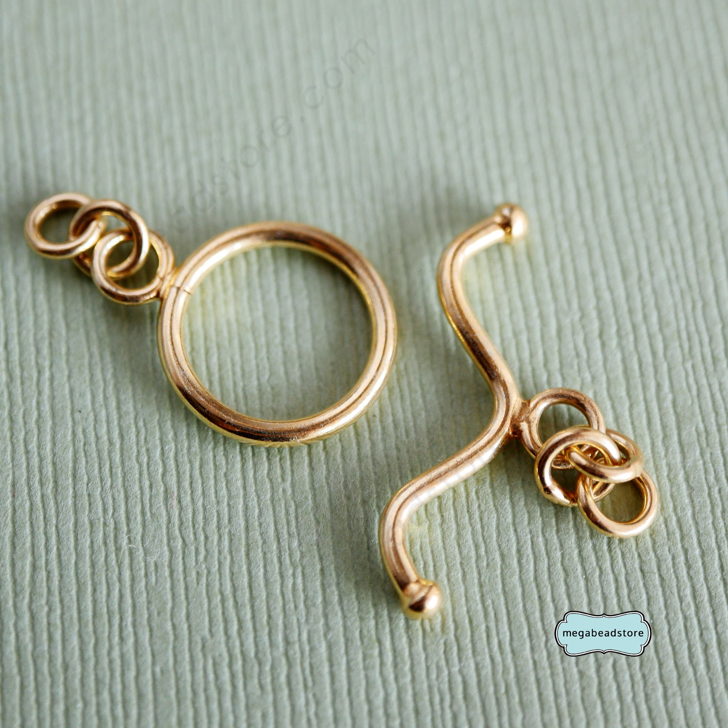 14mm Gold Plated Sterling Silver Vermeil Toggle Clasp T102V