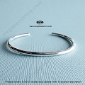 7 inch Plain Modern 3.2mm Thick Sterling Silver Cuff Bracelet Bangle  (BGL10)