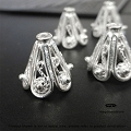 10mm Filigree Sterling Silver Bead Caps (C36B)   4 pcs