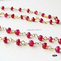 Ruby (dyed) Gem Stone Vermeil Chain    Per foot
