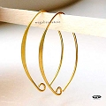 Long 35mm Marquise Gold Plated Sterling Silver Earwires (F339V) - 2 pcs