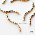 20mm Gold Filled Twisted Square S Tube Beads   1 pc