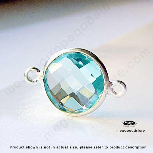 10mm Lite Blue Topaz (Hydro) Bezel Gemstone Connector Sterling ...