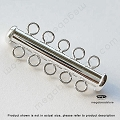5-Strand Bar Tube Clasp Sterling Silver  32mm   1 Set