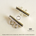 2-Strand Bar Tube Connector Sterling Silver  3mm x 15mm  (F427) 1 pc