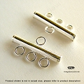 3-Strand Bar Tube Connector Sterling Silver  3mm x 20mm  (F427) 1 pc