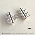 3-Strand Bar Tube Connector Sterling Silver  2mm x 8mm  (F430) 1 pc