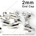 2mm Sterling Silver Leather End Cap (F431) - 20 pcs