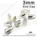 3mm Sterling Silver Leather End Cap (F431) - 10 pcs