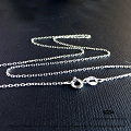 1mm Diamond Cut Sterling Silver Cable Chain Necklace   16 in.