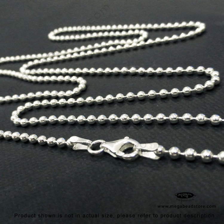 2 2mm sterling silver bead chain finished 30 in