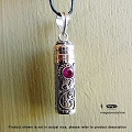 Red Ruby Bali Sterling Silver Tube Pendant (P25)