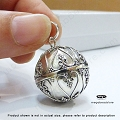 20mm (Filligree Hearts) Large Harmony Ball Sterling Silver Pendant (P78)