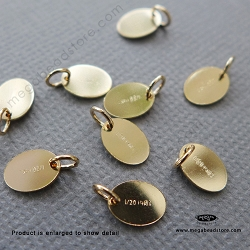7.5x 5.5mm Oval Tag 1/20 14K Gold Filled Blank Disc with Ring (F399GFR) - 10 pcs