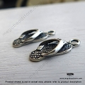 Flip Flop Slipper Oxidized Sterling Silver Charm 14mm x 6mm x 4mm (F110)