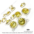 CZ Bezel November Birthstone Charm  Yellow Citrine  1 pc