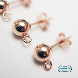 5mm Rose Gold Filled Ball Earring Post w/backings- 1 pr (F58RGF)