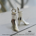 3D Boot Sterling Silver Shoes Charm 13mm x 9mm x 4mm (F85)