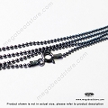 Oxidized 1.5mm Italian 925 Sterling Silver Ball Chain Necklace - 30