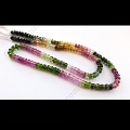 4mm Tourmaline Watermelon Color Faceted Rondelle Beads -13
