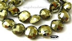 Pyrite Faceted Coin Lentil Beads   27 pcs