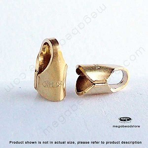 3mm Gold Filled Leather End Cap (F431GF) - 10 pcs