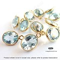 10x8mm Oval Blue Topaz (Natural) Drops Gold Bezel Gemstone Charms  (F434) - 1 pc