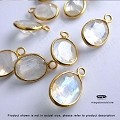 8x6mm Oval Rainbow Moonstone Drops Gold Bezel Gemstone Charms  (F434) - 1 pc