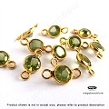6mm Peridot (Natural) Gold Bezel Gemstone Round Connector (F491) - 1 pc