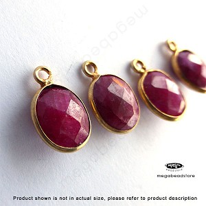 10 x 8mm Ruby (Dyed) Gold Bezel Oval Charm Drop (524) -1 pc