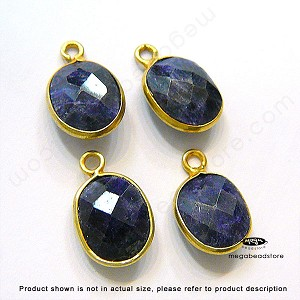 10 x 8mm Sapphire (Dyed) Gold Bezel Oval Charm Drop (524) -1 pc