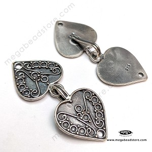 T65 Bali Heart Clasps   42mm