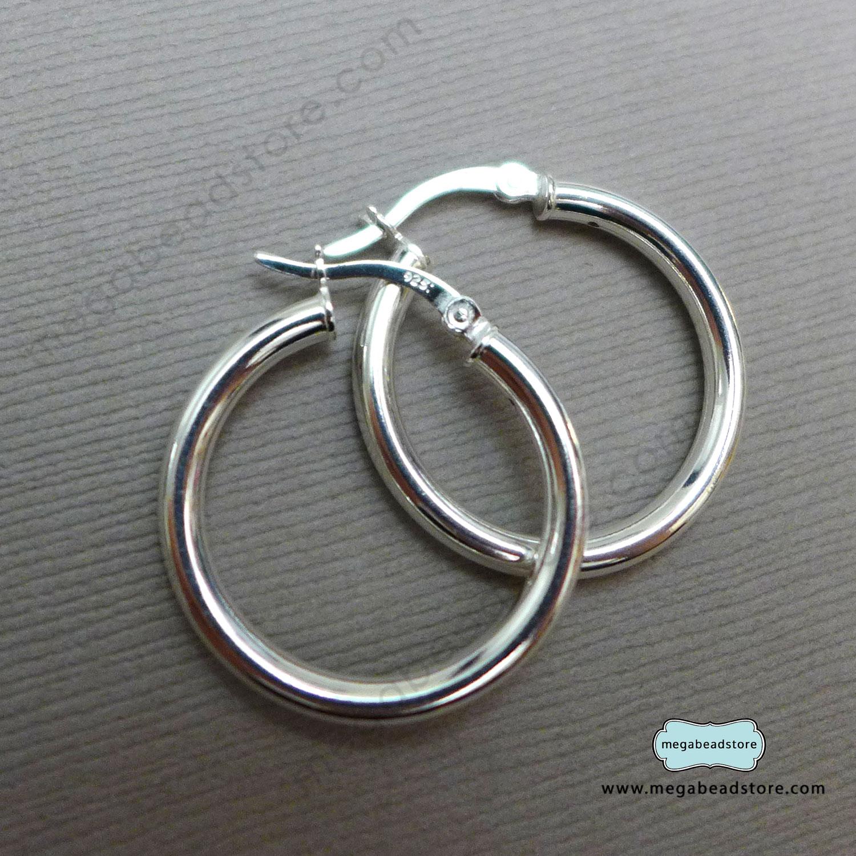 925 25mm DIAMETER CHUNKY HOOP EARRINGS STERLING SILVER