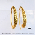4mm Wide Front Hammered Earwires Gold Plated Sterling Silver (F395V) - 2 pcs