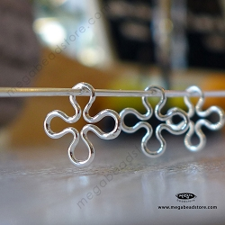 10mm Clover Connector Sterling Silver F34
